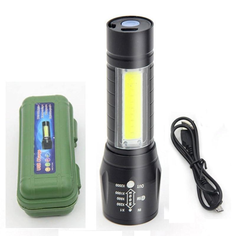 Portatīvie Mini Led zibspuldzes tālummaiņas LED lampas USB uzlādējama Lanterna kempinga zvejai
