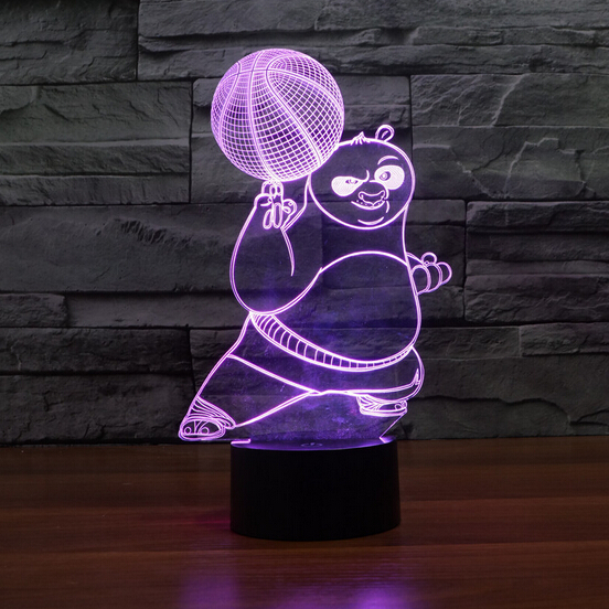 Hot NEW 7color changing 3D Bulbing Light Panda do Kung Fu OPortugal visual illusion LED lamp action figure toy Christmas gift