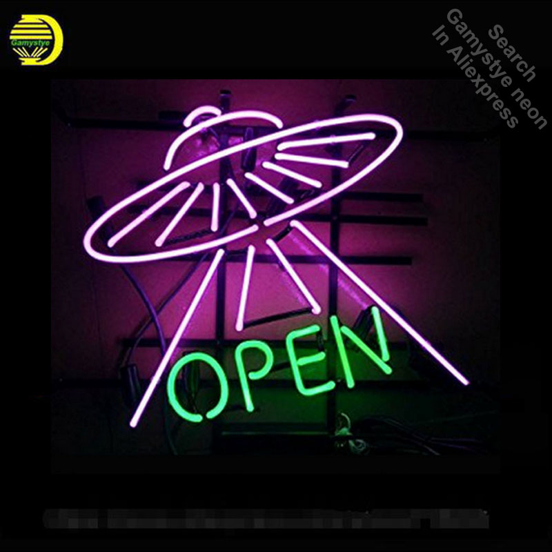 UFO Open Neon Signs Handcrafted Neon Bulbs Glass Tube Decorate Windows Room Display beer Bar Pub sign outdoor Advertise for sale