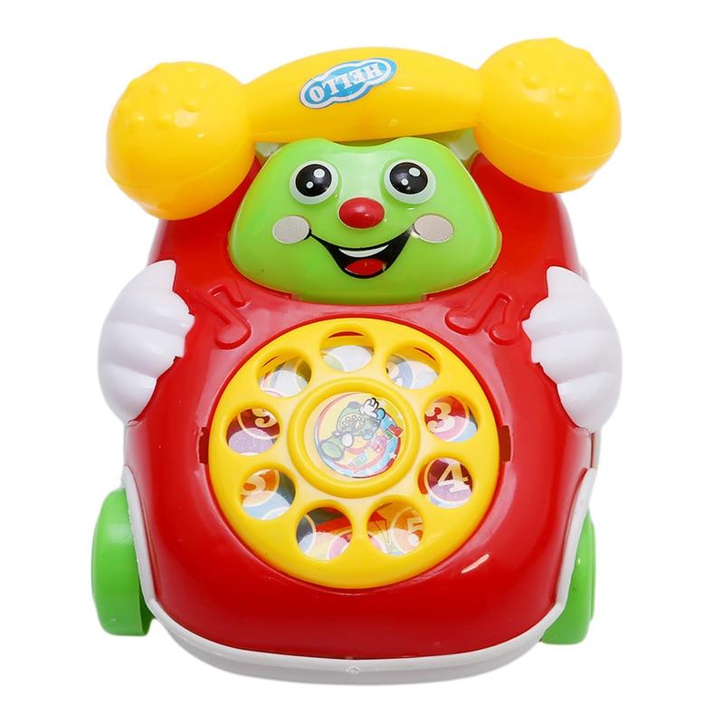 Random Colors Cartoon Phone Clockwork Baby Toys Infant Crawling Wind Up Toy Educational Developmental Kids Toy Gift