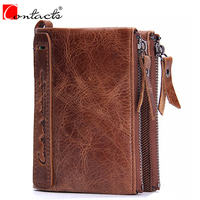 CONTACT S Genuine Crazy Horse Cowhide Leather Men Wallets Fashion Purse With Card Holder Vintage Long