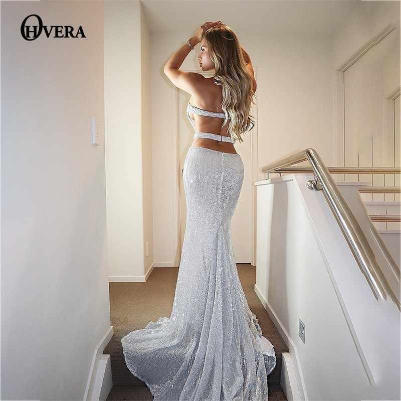 Ohvera Long Maxi Dress Women 2018 Summer Dress Elegant Split Mesh Black  Sequin Backless Bodycon Sexy a64cb69e207a