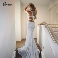 Ohvera Long Maxi Dress Women 2018 Summer Dress Elegant Split Mesh Black Sequin Backless Bodycon Sexy Party Dresses Prom Vestidos