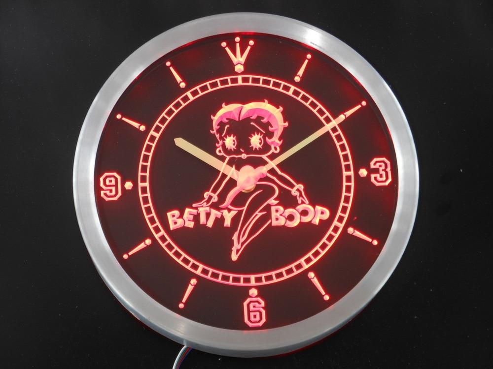 nc0233 Betty Boop Neon Sign LED Wall Clock