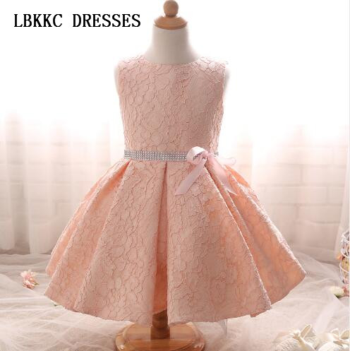 Pink Lace   Flower     Girl     Dresses   Kids Pageant Gowns Cute First Communion   Dresses   Kids Evening Gowns Cheap Party   Dresses   For   Girls