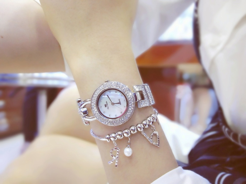 2016 Arrival Famous Brand Bling Watch Women Luxury Austrian Crystals Watch Rose Gold Shinning Diomand Rhinestone Bangle Bracelet new arrival famous bs brand bling diamond bracelet silver watch women luxury austrian crystal big watch rhinestone charm bangle