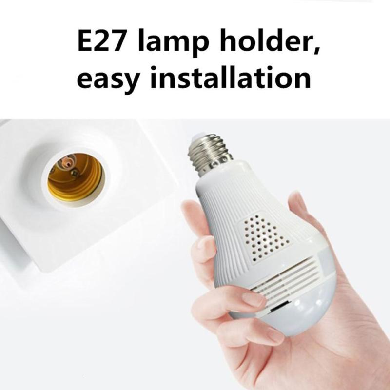 1PCS 960P 130DPI FishEye 180/ 360 Degree Panoramic IP 3D VR Security Camera WIFI E27 Bulb Night vision Night Light Bulb