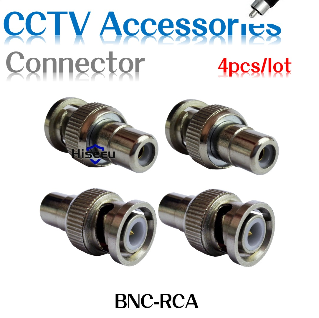 Hiseeu 4 Pcs/lot BNC Male-RCA Female Coax Cable Connector Adapter F/M Coupler for CCTV Camera Accessories freeshipping