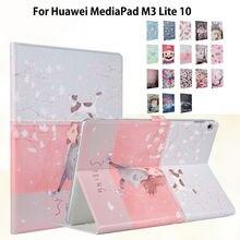 """Delgado M3 Caso Pintado Para Huawei MediaPad 10 Lite BAH-W09 BAH-AL00 10.1 """"Smart Cover Funda Tablet PU de Los Niños de dibujos animados de La Piel"""