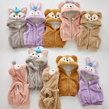 Cartoon Children's Clothing winter Outerwear Coats for Girl and Boys long ear bunny design Vest Kids Warm Jacket 1t-6