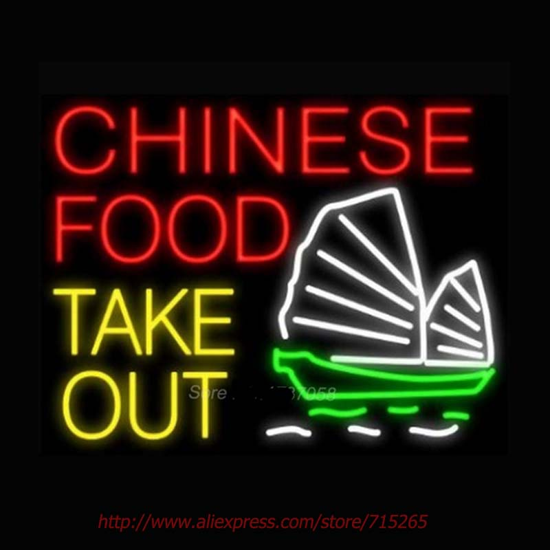 Chinese Food Take Out Boat Neon Sign Store Display Neon Bulbs Real Glass Tube Gift