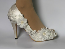 3 heel satin white ivory lace ribbon ankle open toe Wedding shoes women gift