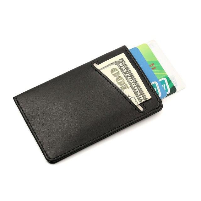bd189bdb08b6 US $8.6 57% OFF|Aliexpress.com : Buy Slim Leather Wallet Men Credit Card &  ID Holders Compact Mini Purse Cash Women Card Holder Sleeve Purse from ...