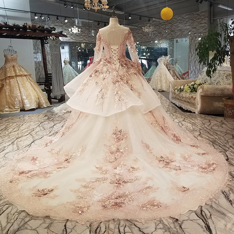 ... lace flower crystal luxury wedding dress vintage ruffles turkey beading wedding  dress 100% real photo 9444-in Wedding Dresses from Weddings   Events on ... 005a1998a4d0