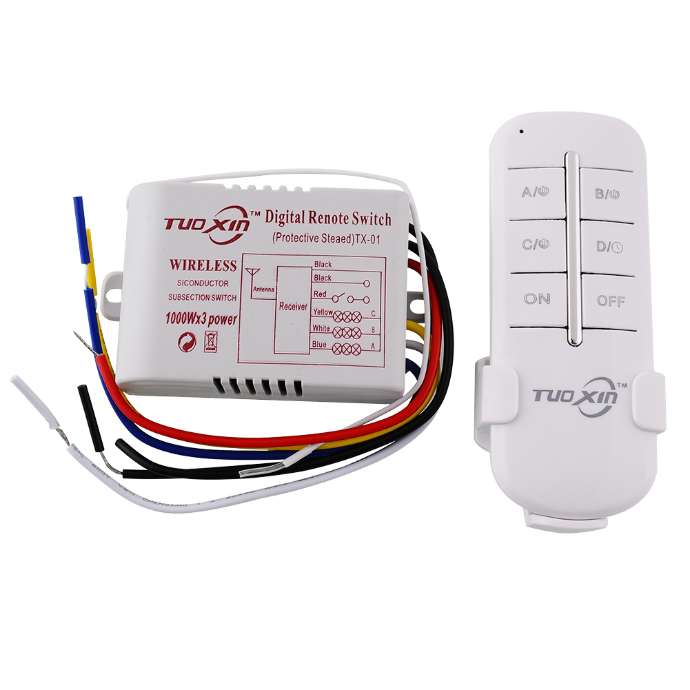 110V 3 Channels Way ON/OFF Digital Wireless Light Lamp Home Wall Corridor New Switch Splitter Remote Control professional english in use law