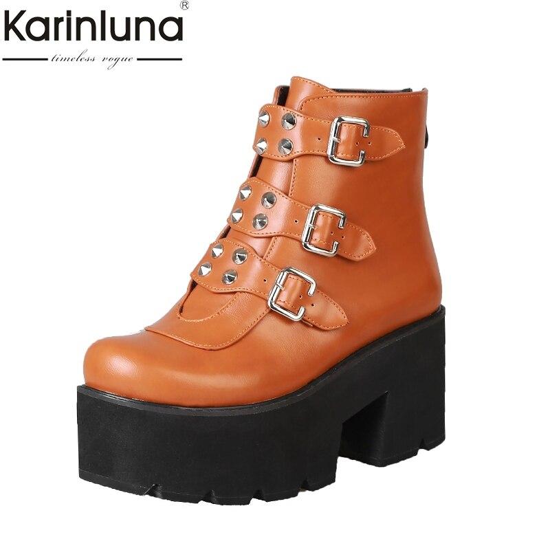 Karinluna 2019 Brand Design Big Size 33 46 Platform Buckles Women Ankle Boots Shoes Fashion Square