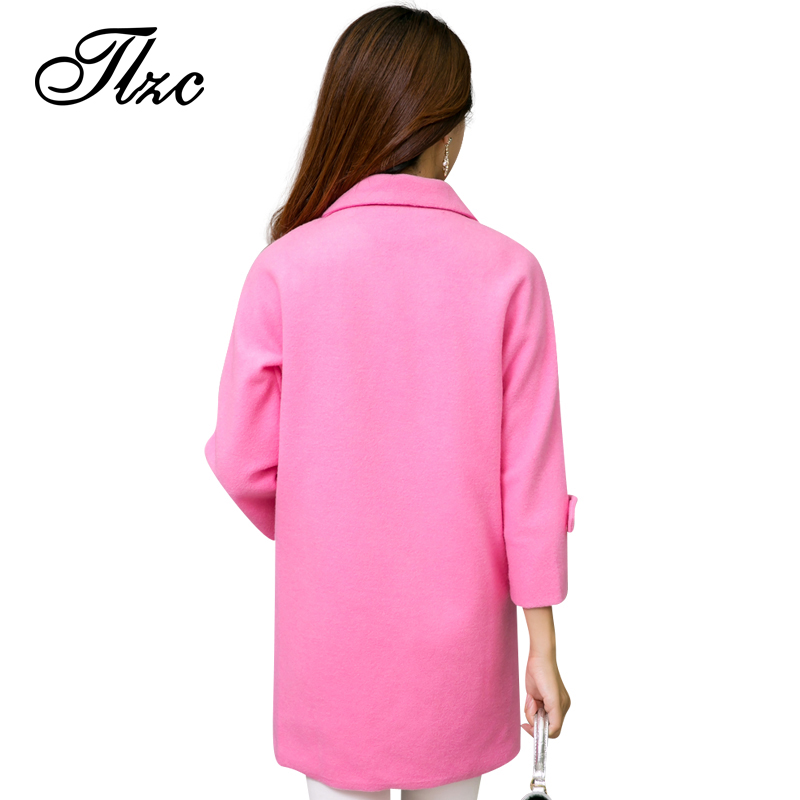 TLZC 2017 Women Winter Autumn Jackets Long Design Plus Size L-5XL Candy Color Slim Office Lady Wool & Blends Coat
