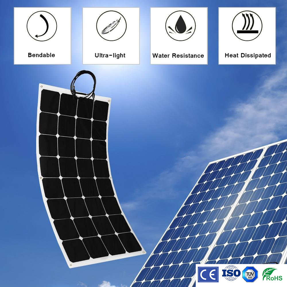 Sunpower 100W flexible Solar Panel for fishing boat car RV 12V solar panel module system kits battery solar charger  300w solar system from china suit for car ship boat with six pcs of module 50w and mppt solar conroller