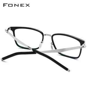 Image 4 - Fonex TR90 眼鏡フレーム、2019近視処方眼鏡のフレーム、スクエア眼鏡無ねじフレーム男女共用516