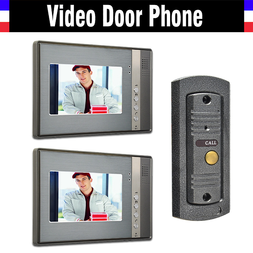 7 monitor video intercom video door phone system IR Night Vision pinhole Camera wired vi ...