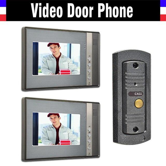 7 monitor video intercom video door phone system ir night vision pinhole camera wired video. Black Bedroom Furniture Sets. Home Design Ideas