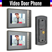 7 monitor video intercom video door phone system IR Night Vision pinhole Camera wired video doorbell interphone kits 2 monitor