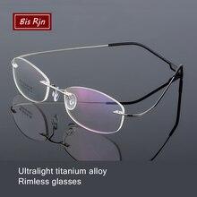 Lightweight Rimless Glasses Women Men Memory Titanium Eyeglasses oval Myopia Optical Frames Spectacle Z865
