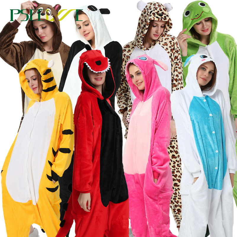 Kigurumi Adults Animal Unicorn Pajamas Set Panda Cartoon Women Men Winter Unisex Flannel Stitch Pajamas Unicornio Sleepwear
