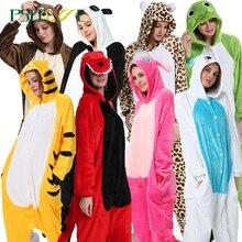 Kigurumi dorosłych zwierząt jednorożec piżamy zestaw Panda Cartoon kobiety mężczyźni zima Unisex flanelowe stitch piżamy unicornio bielizna nocna