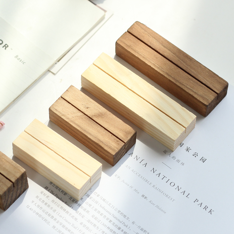 No Printing/Engraved Solid Wood Cute Memo Pincer Clips Paper Photo Clip Holder Wooden Small Clamps Stand Desk Gadget
