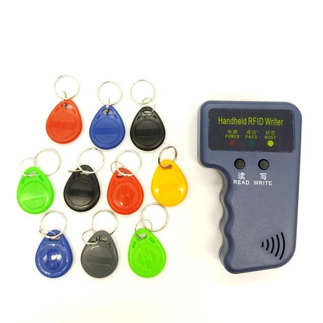 핸드 헬드 125 khz rfid 복사기 복사기 작성기 프로그래머 리더 + em4305 t5577 10 키 10 카드 재기록 가능한 id keyfobs 태그 카드