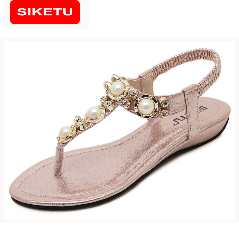 SIKETU Summer Sandals Women Fashion Beading PU Leather Platform Wedges Sandals Female Shoes Woman 4 Colors Size 35-40 801-1 phyanic 2017 gladiator sandals gold silver shoes woman summer platform wedges glitters creepers casual women shoes phy3323