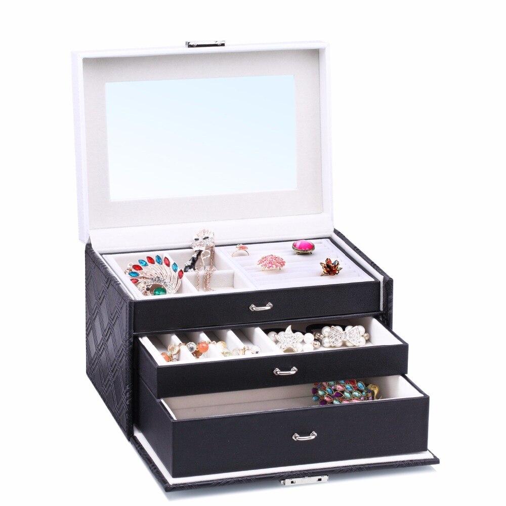 ROWLING Large Velvet Jewellery Storage Box Black PU Jewellery Packaging Rings Boxes Bracelet Earrings 3 Layers