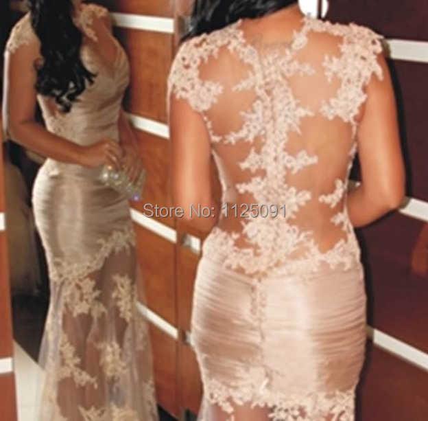 Vente chaude marque Transparent fête dentelle casquette manches longues soirée robes de bal pour les femmes robes de soirée