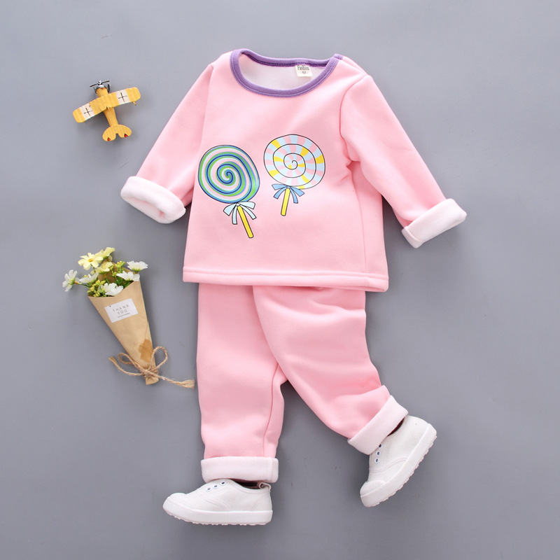 2018 girls   pajamas     Set   Cotton Children Pijama Suit Warm Underwear Thermal Clothes Thickened kids pyjamas winter boy clothing