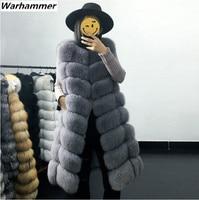 Warhammer Super Long Waistcoat Female Pink Fur Coat Slim Fit Winter Faux Fur Vest Women Fashion Artifical Fur Coat Outwear S3XL