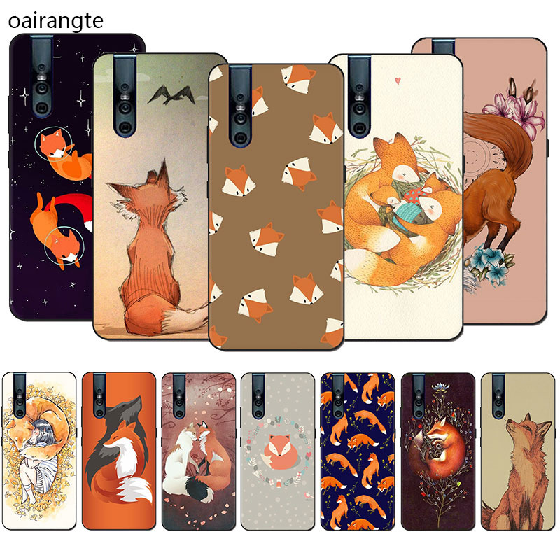 Fox Animal Silicone Phone <font><b>Case</b></font> for <font><b>VIVO</b></font> V15 V11 Pro V9 V7 V5 Y17 Y55s <font><b>Y69</b></font> Y71 Y81s Y91C Y93 Y66 X9s Half-wrapped <font><b>Case</b></font> image