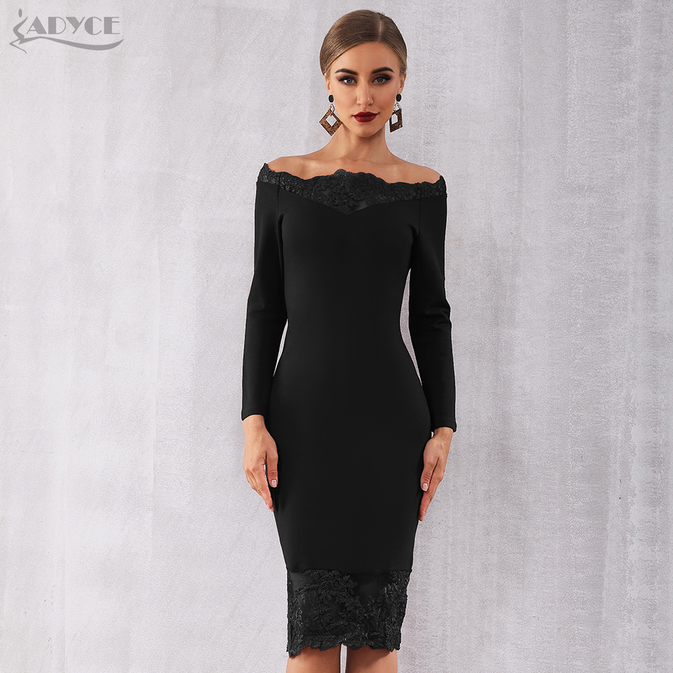 Adyce 2019 New Women Bandage Dress Vestidos Black Slash Neck Celebrity Party Dress Elegant Off Shoulder