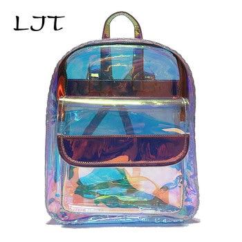Ljt 여성 투명한 배낭 고품질 pvc 쿨 미니 지우기 가방 학생 하라주쿠 방수 학교 가방 홀로그램 배낭