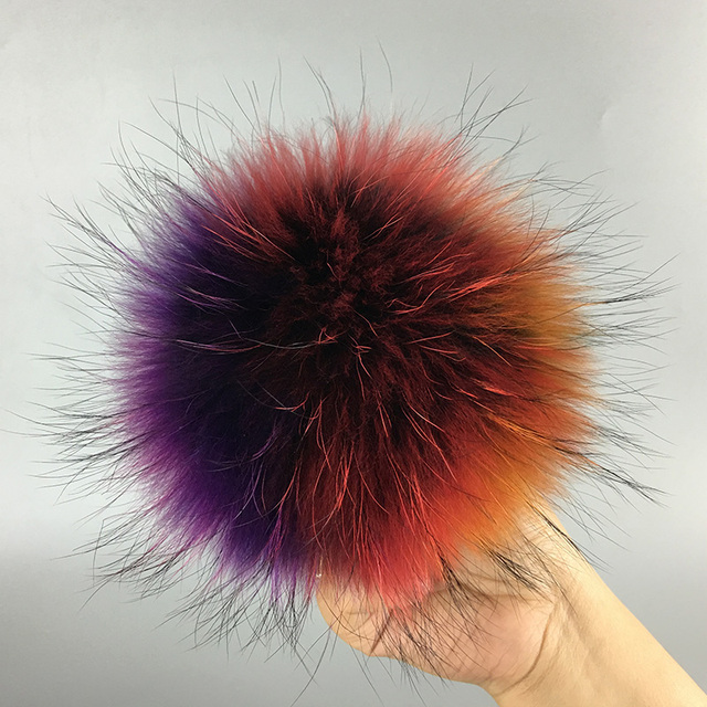 231899f2e0e 13cm Natural raccoon fur ball key chain fur hat winter hats Fur pom pom for  shoes