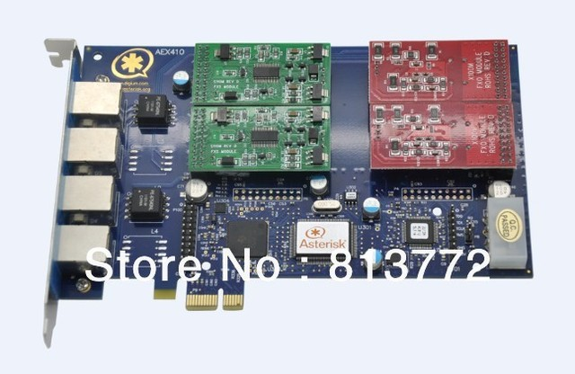 Free shipping AEX410 with 2FXO & 2FXS Asterisk card pci express card for voip ippbx ip pbx SOHO telephone system