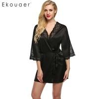 Ekouaer Sexy Nightwear Lace Patchwork Satin Robe Short Women 3 4 Sleeve Deep V Robes Wedding