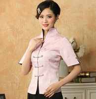 Novelty Pink Chinese Female Tang Suit Cotton Rayon Shirt Top Summer Blouse Solid Color Feminina Camisa