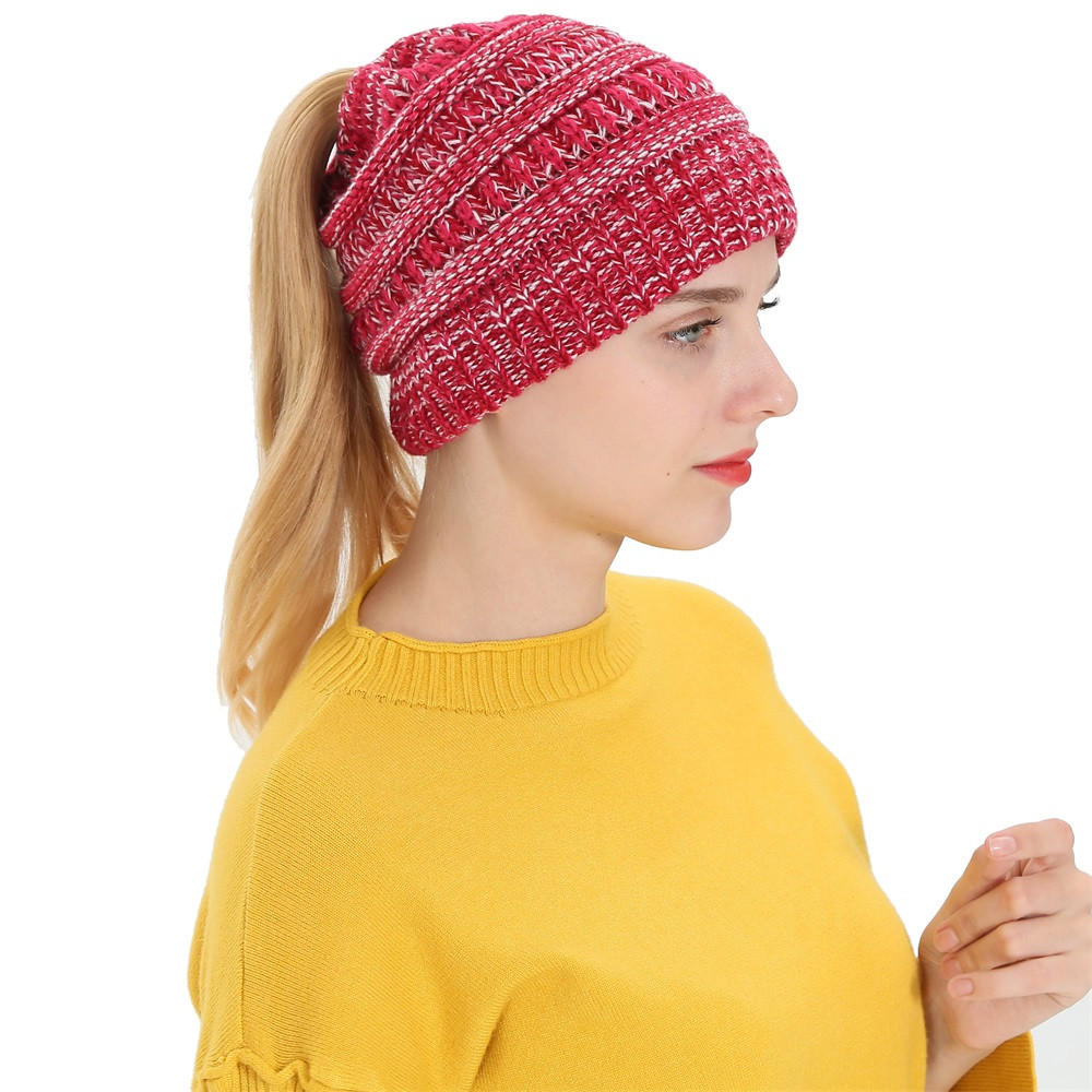2019 Ponytail Beanie Winter Hats for Women Crochet Knit Cap Skullies Beanies Warm Caps Female Knitted Stylish Hat Ladies Fashion(China)