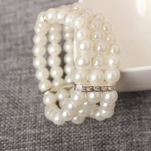 New Japan and South Korea three pearl blitz multi - layer elastic bracelet wholesale(China)