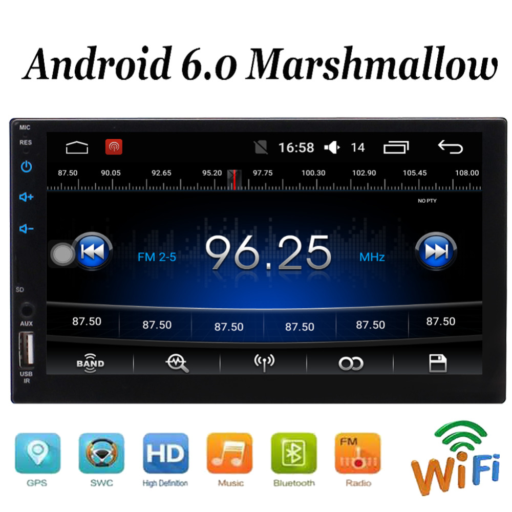 Double Din In Dash Head Unit Quad Core Android 6.0 System Car Stereo 7'' Touch Screen GPS Navigation Radio Audio Player HD Video аксессуар угольный фильтр timberk tms fl70 cr для tap fl70 sf