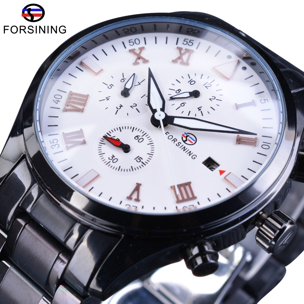 Forsining Black Steel Luminous Hands Maltifunction Navigator Series Military Wrist Watch Mens Automatic Watches Top Brand Luxury forsining navigator series tourbillion date display black silver watch top brand luxury male automatic mechanica wrist watches
