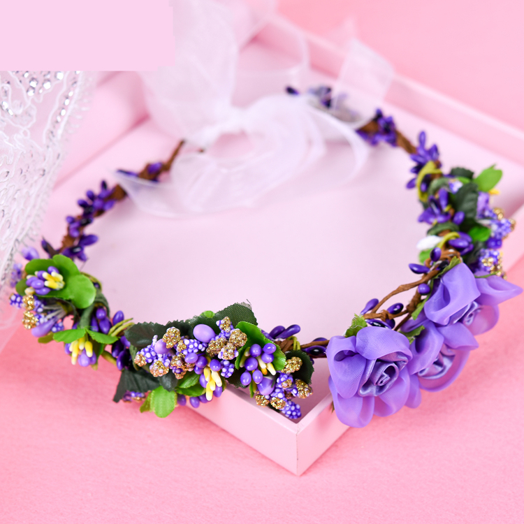 Wedding White Flower Crown: Free Shipping Pink/Purple/White/Blue Tulle Flowers Bridal