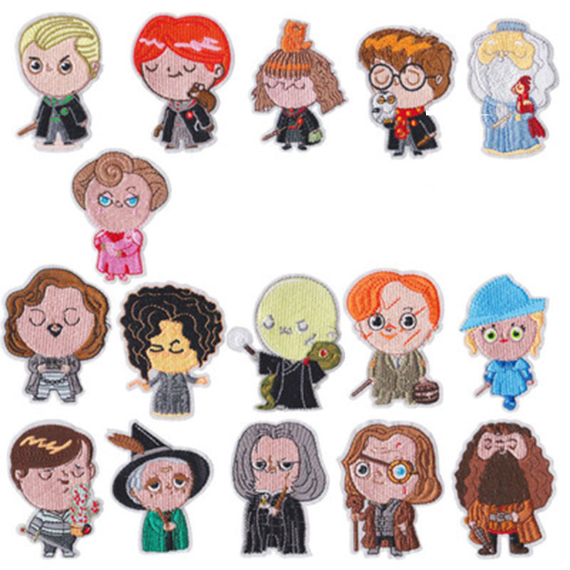 Giancomics Hot Series Harri Potter Cloth Patch Cute Characters Embroidered Applique Stickers Iron on For Jacket Jeans Clothes