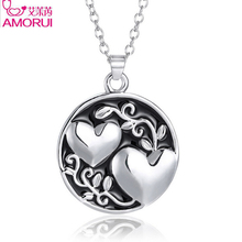 AMORUI Fashion Best Friend Sister Pendant Chain Necklace Silver Love Heart Sister Valentine's Day Gift Necklaces for Women